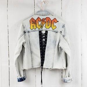 AC DC Light Acid Wash Crop Denim Jacket